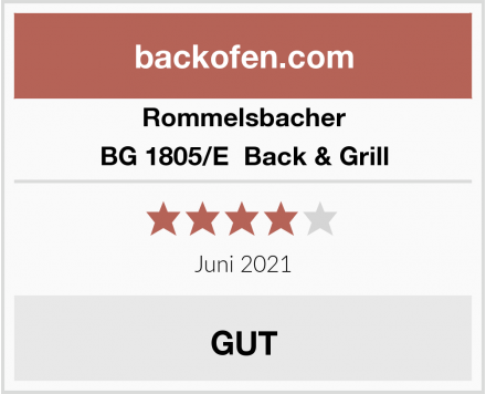 Rommelsbacher BG 1805/E  Back & Grill  Test